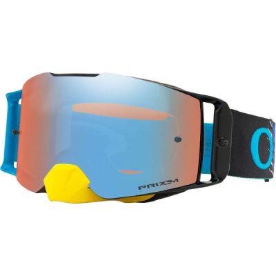 Oakley Front Line MX Goggle (Dissolve Yellow/Blue) Prizm Sapphire Irdium Lens